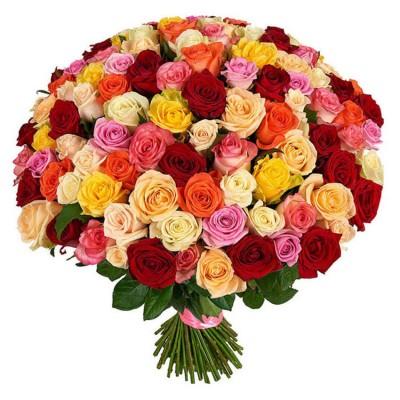 Букет из 101 розы яркий микс