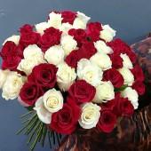 Букет 51 роза Микс Эквадор премиум  65см