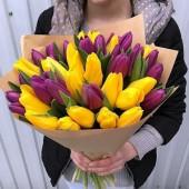 35 тюльпанов желто-фиолетовый микс