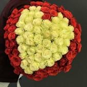 """Букет """"101 роза в форме сердца"""" 65см Эквадор Премиум"""