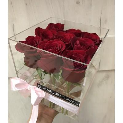 Акриловый бокс Premium 9 роз