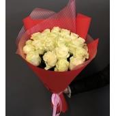 """Букет из 21 розы """"Люблю тебя"""" белый"""