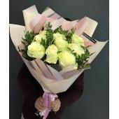 """Букет из 11 белых роз Эквадор """"Романс"""""""