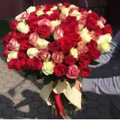 Букет 101 роза микс Калейдоскоп 65 см