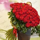 101 красная роза 110 см