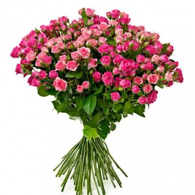 Букет 21 кустовая роза 75 см