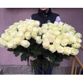 Роза белая 80 см Премиум Эквадор