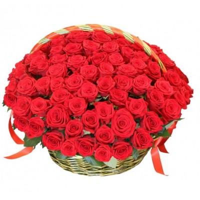 Корзина 101 красная роза премиум