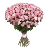Букет из 51 кустовой розы 60-70см
