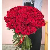101 алая роза 75 см