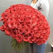 101 красная роза  Эквадор 60 см