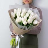 """Букет """"Белоснежные тюльпаны"""" из 19 штук"""